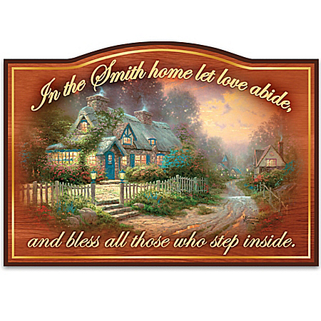 Thomas Kinkade Wooden Welcome Sign Personalized with Family Name: Let Love Abide