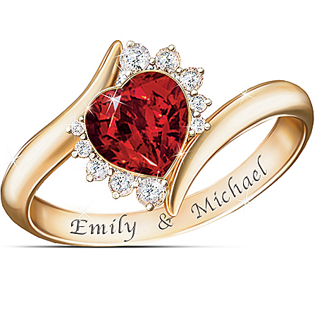 18K Gold-Plated Sweetheart Personalized Ring With Diamonesk Gemstones