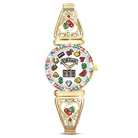 Lucky Jackpot Gold-Tone Filigree-Designed Slot Machine Women's Watch