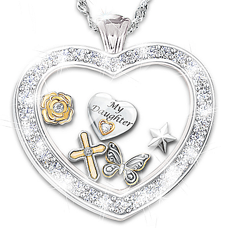 Sterling Silver Plated Wishes For My Daughter Pendant Necklace