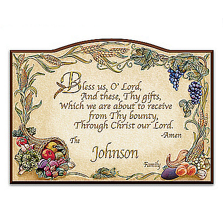 Bless Us O Lord Personalized Wooden Welcome Sign