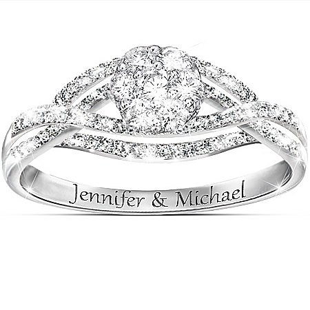 Bouquet Of Love Personalized Ring With White Sapphire And White Topaz – Personalized Jewelry