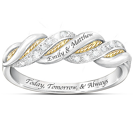 United In Love Personalized Diamond Sterling Silver Women's Ring – Personalized Jewelry