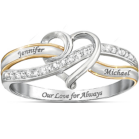 Handcrafted Our Love For Always Personalized Sterling Silver Diamond Ring