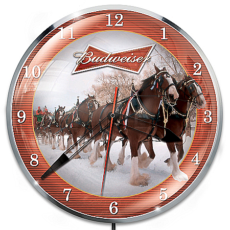 Budweiser Illuminated Retro-Style Wall Clock With Clydesdale Art