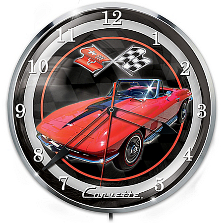 1967 Corvette Sting Ray Illuminated Wall Clock