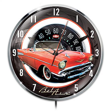 1957 Chevrolet Bel Air Illuminated Wall Clock