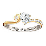 You Make My Heart Smile Personalized Ring With Diamonesk Heart