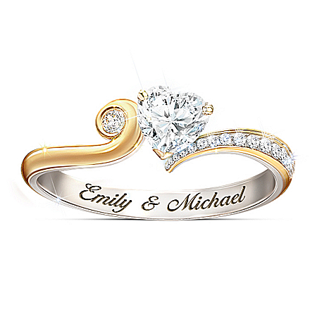 You Make My Heart Smile Personalized Ring With Diamonesk Heart – Personalized Jewelry
