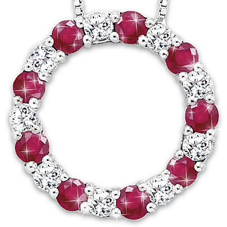 Circle Of Enchantment White Sapphire And Ruby Necklace