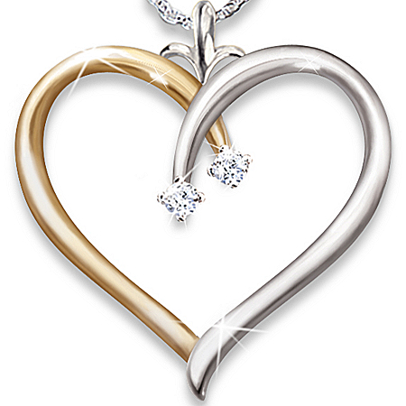 My Darling Granddaughter Diamond Open Heart Pendant Necklace