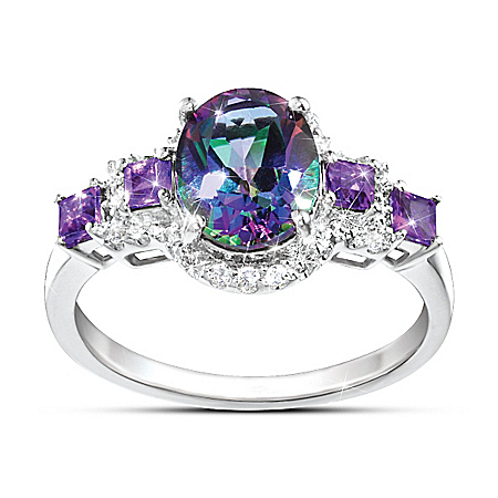Alluring Beauty Women's Mystic Topaz Ring With Amethyst And White Topaz