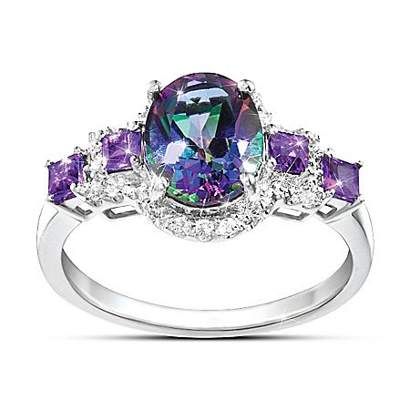 Alluring Beauty Multi-Gemstone Mystic Topaz, White Topaz and Amethyst Ring