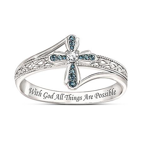 Heavenly Grace Blue Diamond Cross Ring