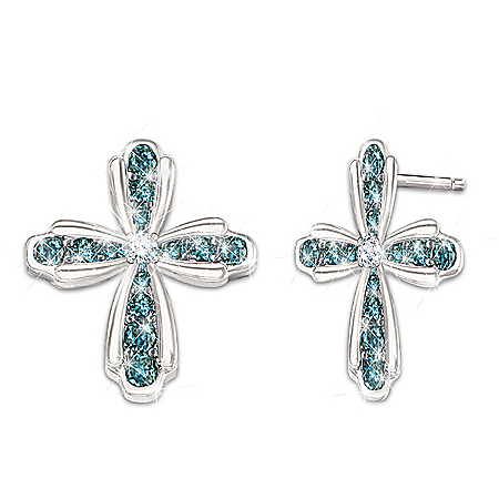 Heavenly Grace Cross-Shaped Blue And White Diamond Earrings