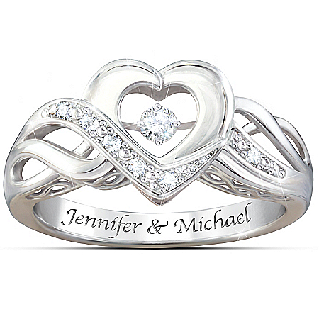 Dance Of Love Personalized Women's Open Heart Diamond Ring – Personalized Jewelry