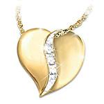My Precious Daughter Engraved Diamond Pendant Necklace
