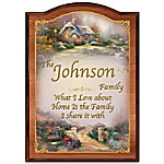 Thomas Kinkade Forever Family Personalized Wooden Welcome Sign With Your Family Name