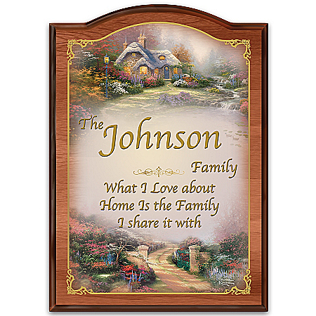 Thomas Kinkade Wooden Welcome Sign Personalized with Family Name: Forever Family