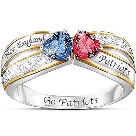 NFL Heart Of New England Patriots Women's Crystal Ring