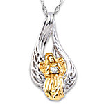 On Angel's Wings Sterling Silver Diamond Pendant Necklace