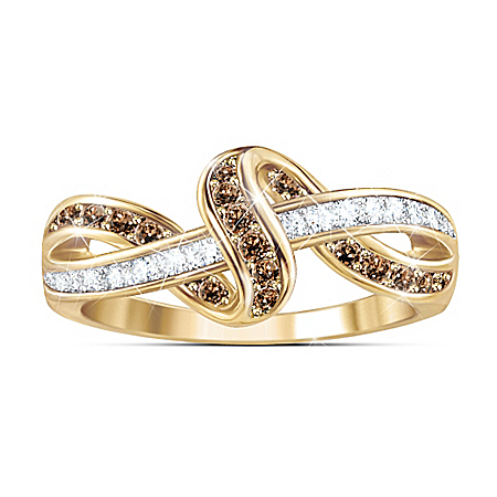Luxury In Mocha And White Diamond Ring
