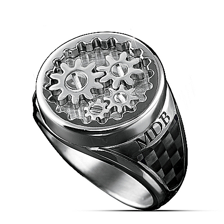 Men's Stainless Steel Gearhead Personalized Ring