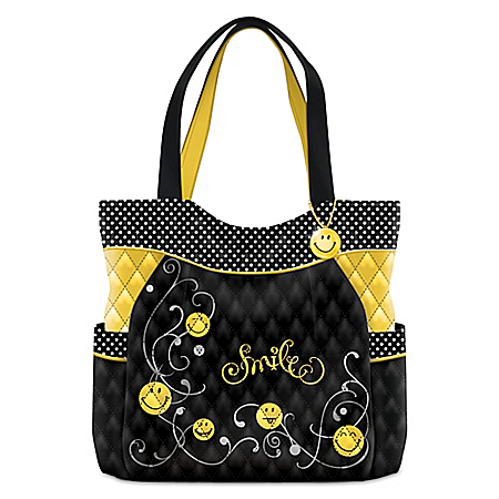 Get Happy Women's Black And Yellow Smiling Face Quilted Tote Bag