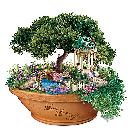 Thomas Kinkade Love Lives Here Floral Garden Table Centerpiece