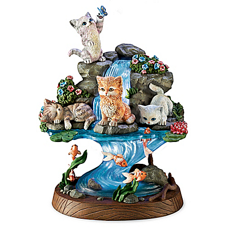 J??rgen Scholz A Purr-Fect Day Lily Pond Cat Sculpture
