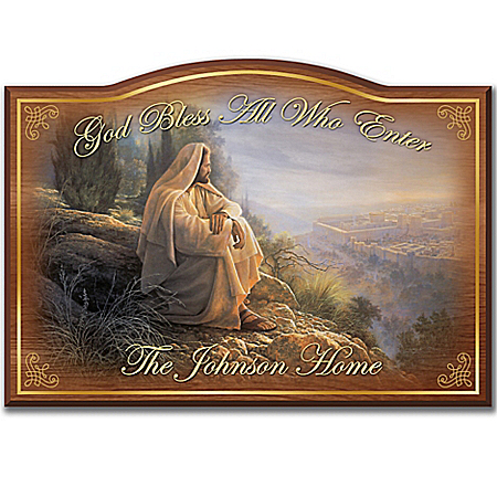 God Bless All Who Enter Personalized Welcome Sign With Image Of Jesus