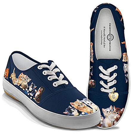 Jurgen Scholz Kitty-Kat Cute Women's Canvas Cat Art Shoes