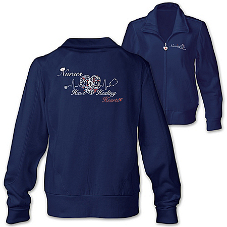 Nurses Have Healing Hearts Women's Embroidered Knit Jacket: Navy Blue