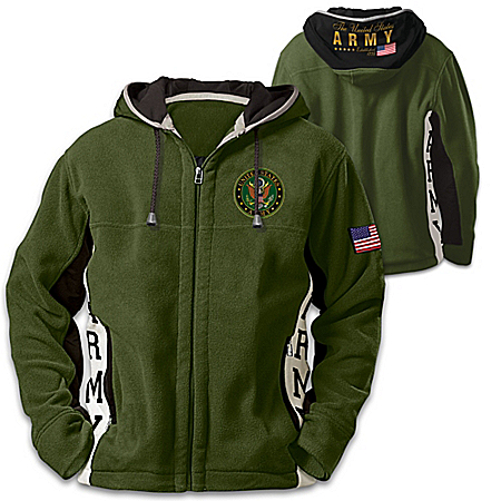 U.S. Army Hoodie: Men's Green Hooded Fleece Jacket