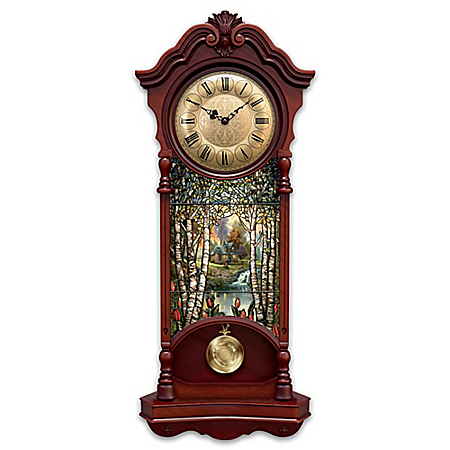 Image of Lighted Tall Stain Glass Thomas Kinkade Wall Clock