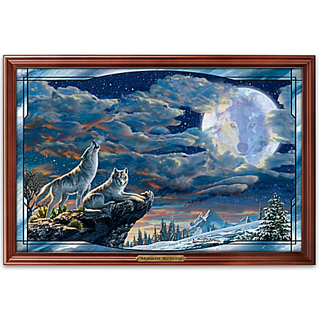 Moonlit Reverie Lighted Stained Glass Panorama Wall Decor