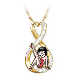 Forever Betty Boop Women's Swarovski Crystal Pendant Necklace