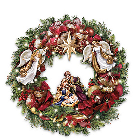 Thomas Kinkade Season's Blessings Light Up Nativity Scene Wreath