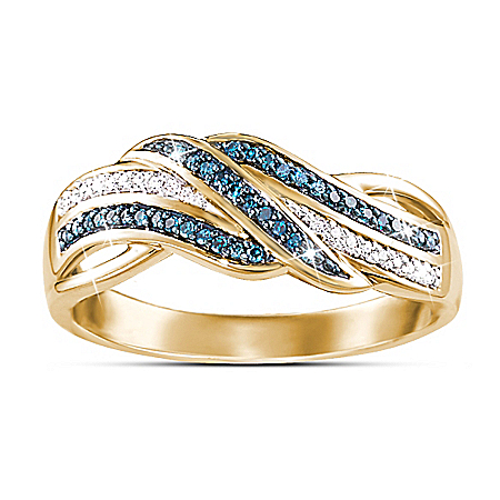 Wrapped In Luxury Blue And White Diamond Women's Ring