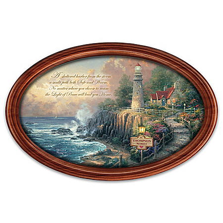 Thomas Kinkade Masterpiece Framed Plate Personalized with a Name: Light of Peace