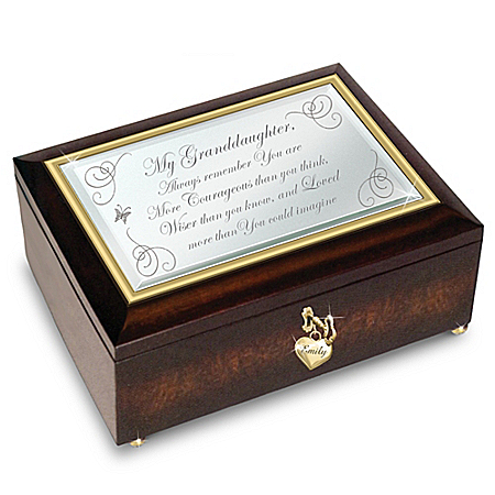 Granddaughter, You Are Loved Personalized Mirrored Music Box
