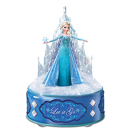 Disney FROZEN Let It Go Music Box With Elsa Sculpture And Crystalline Castle