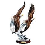 American Bald Eagle Soaring Splendor Hand-Painted Sculpture With Crystalline Swirls