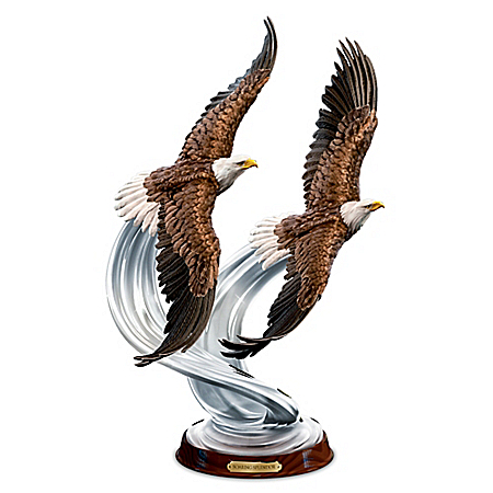 American Bald Eagle Soaring Splendor Lifelike Sculpture Atop Crystalline Swirls