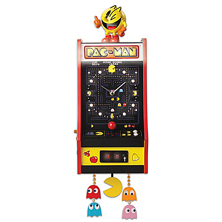 PAC-MAN Classic Arcade Game Tribute Wall-Hanging Clock