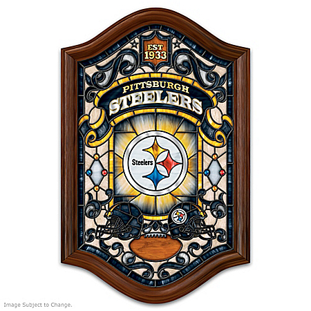 Pittsburgh Steelers Illuminated Wood Frame Stained-Glass Wall Decor