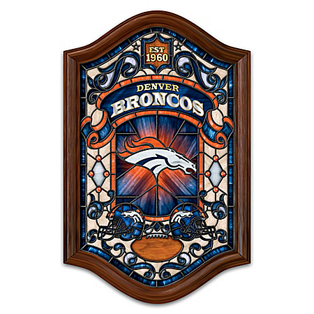 Denver Broncos Illuminated Handcrafted Stained Glass Wall Decor