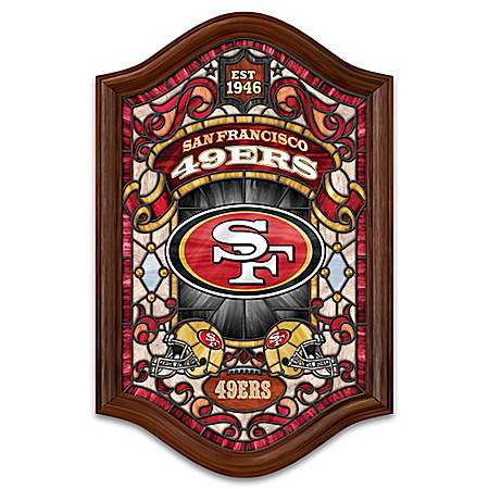 San Francisco 49ers Illuminated Wood Frame Stained-Glass Wall Decor
