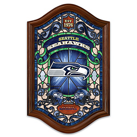Seattle Seahawks Illuminated Wood Frame Stained-Glass Wall Decor