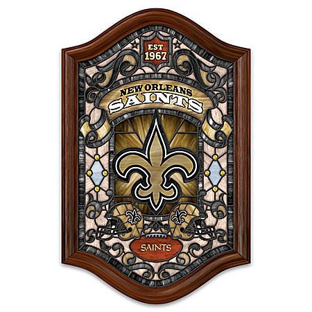 New Orleans Saints Illuminated Wood Frame Stained Glass Wall Decor